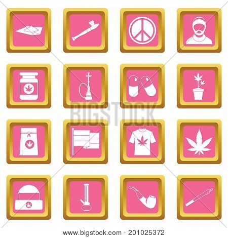 Rastafarian icons set in pink color isolated vector illustration for web and any design