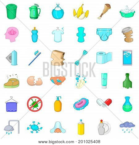 Trash icons set. Cartoon style of 36 trash vector icons for web isolated on white background