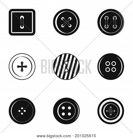 Clothes button icon set. Simple set of 9 clothes button vector icons for web isolated on white background