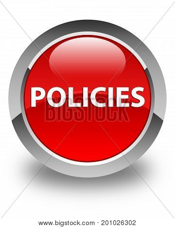 Policies Glossy Red Round Button