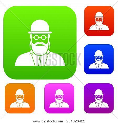Orthodox jew set icon in different colors isolated vector illustration. Premium collection