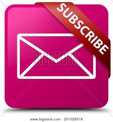 Subscribe (email Icon) Pink Square Button Red Ribbon In Corner