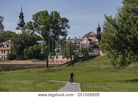 ZAMOSC POLAND - July 26 2017: Zamosc - Renaissance city in Central Europe. Fortifications around the old town.