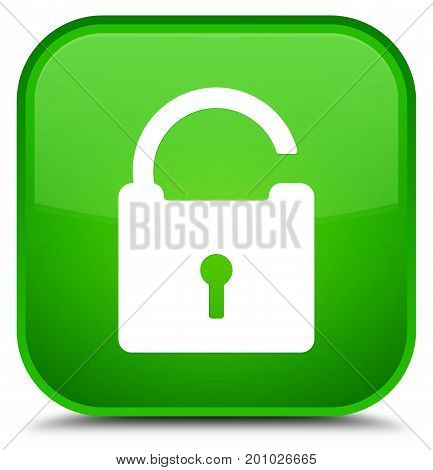 Unlock Icon Special Green Square Button