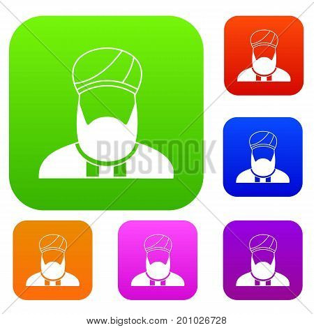 Muslim preacher set icon in different colors isolated vector illustration. Premium collection