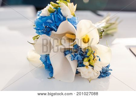 A beautiful bouquet of flowers, close up. Callas