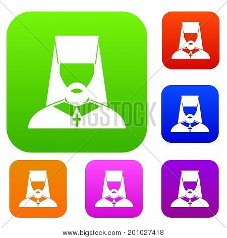 Orthodox priest set icon in different colors isolated vector illustration. Premium collection