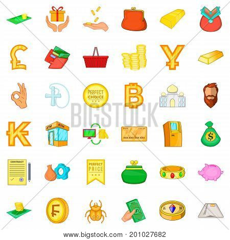 Money heap icons set. Cartoon style of 36 money heap vector icons for web isolated on white background