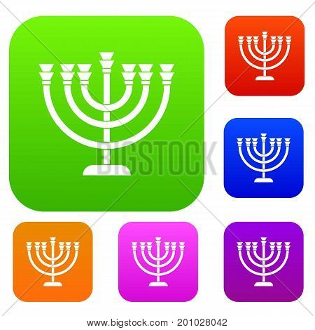 Menorah set icon in different colors isolated vector illustration. Premium collection