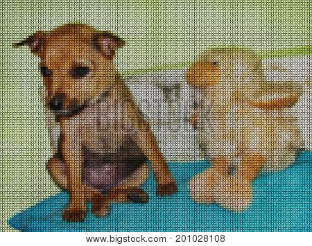 Illustrations. Cross-stitch. Yellow dog is a symbol of 2018 year. The earth dog is the patron of the year in the Chinese Eastern calendar.