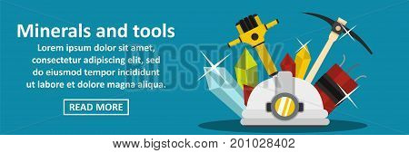 Minerals and tools banner horizontal concept. Flat illustration of minerals and tools banner horizontal vector concept for web