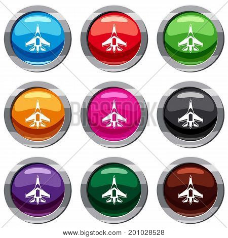 Jet fighter plane set icon isolated on white. 9 icon collection vector illustration