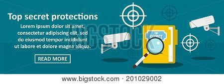 Top secret protections banner horizontal concept. Flat illustration of top secret protections banner horizontal vector concept for web