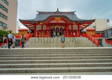 TOKYO, JAPAN JUNE 28 - 2017: Hanazono Shrine Hanazono Jinja Shinto shrine located in Shinjuku ward, dedicated to Inari deity Inari Okami is often visited by businessmen to pray for success located in Tokyo, Japan.
