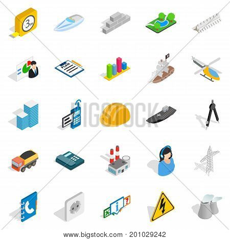 Engineering icons set. Isometric set of 25 engineering vector icons for web isolated on white background