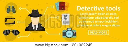 Detective tools banner horizontal concept. Flat illustration of detective tools banner horizontal vector concept for web