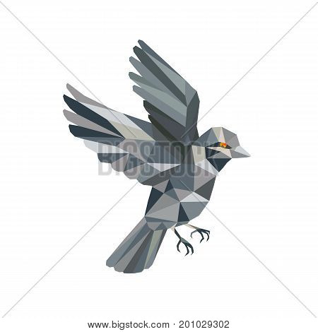 Illustration of an Old World Sparrow flying set on isolated background done in Low Polygon style.