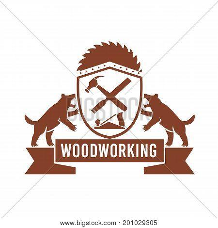 Illustration of two Tasmanian Devil on side supporting shield with crossed hammer and file smooth plane and circular saw blade and text Woodworking set inside Crest done in Retro style.