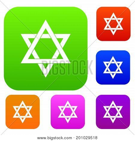 Star of David set icon in different colors isolated vector illustration. Premium collection