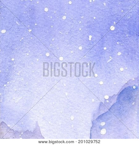 Watercolor violet winter snow sky landscape texture background