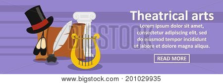 Theatrical arts banner horizontal concept. Flat illustration of theatrical arts banner horizontal vector concept for web