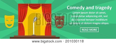 Comedy and tragedy banner horizontal concept. Flat illustration of comedy and tragedy banner horizontal vector concept for web
