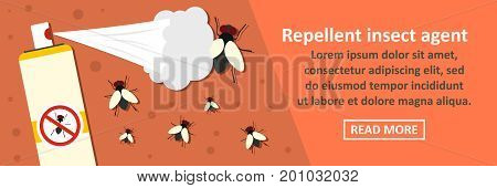 Repellent insect agent banner horizontal concept. Flat illustration of repellent insect agent banner horizontal vector concept for web poster