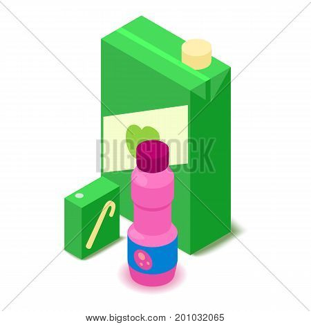 Juice icon. Cartoon isometric illustration of juice vector icon for web