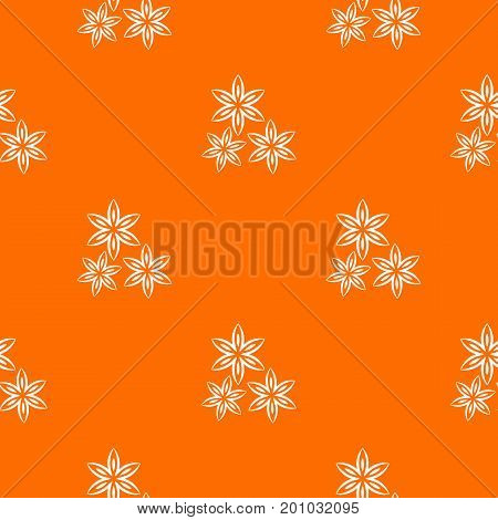 Star anise pattern repeat seamless in orange color for any design. Vector geometric illustration