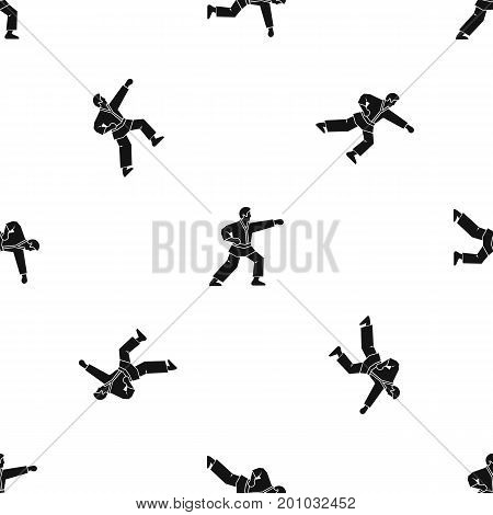 Aikido fighter pattern repeat seamless in black color for any design. Vector geometric illustration