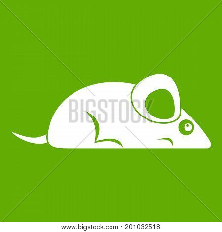 Pet mouse icon white isolated on green background. Vector illustration