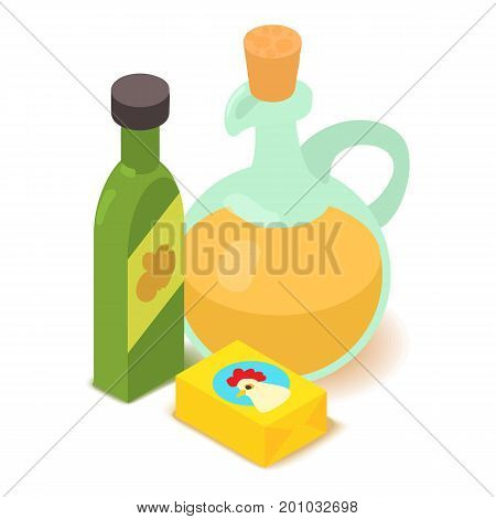 Butter icon. Cartoon isometric illustration of butter vector icon for web