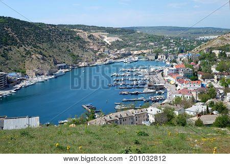 Hidden Sea Bay Of Balaclava Town In Crimea