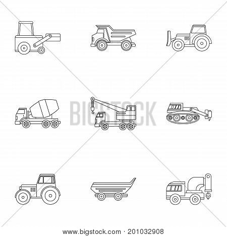 Construction heavy vehicle icon set. Outline set of 9 construction heavy vehicle vector icons for web isolated on white background