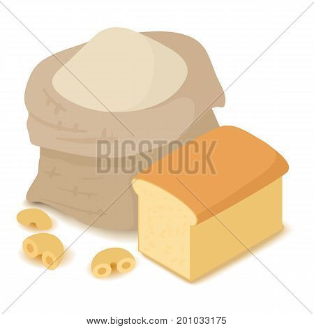 Flour icon. Cartoon isometric illustration of flour vector icon for web