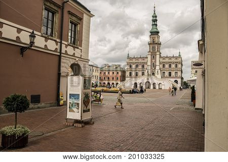 ZAMOSC POLAND - August 31 2013: Zamosc - Renaissance city in Central Europe. Town Hall on Market Square in Zamosc city center