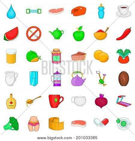 Diet icons set. Cartoon style of 36 diet vector icons for web isolated on white background