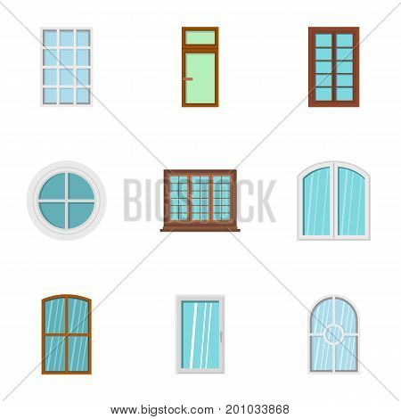 House window icon set. Flat set of 9 house window vector icons for web isolated on white background