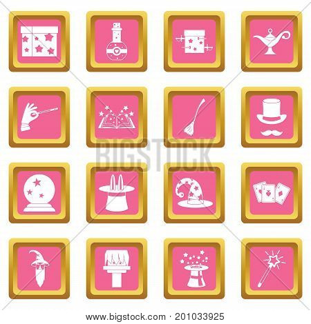 Magic icons set in pink color isolated vector illustration for web and any design