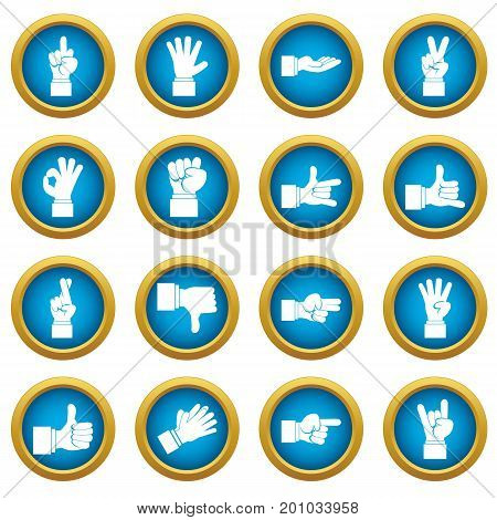 Hand gesture icons blue circle set isolated on white for digital marketing