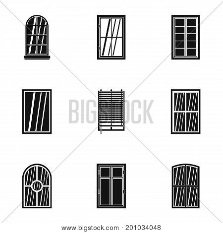 Apartment window icon set. Simple set of 9 apartment window vector icons for web isolated on white background