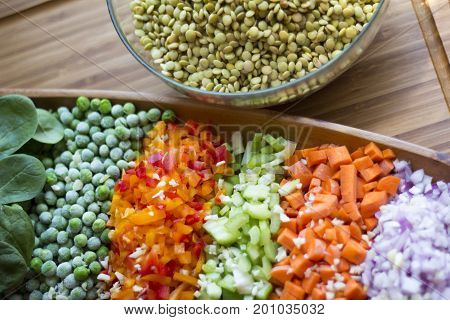 Lentils with vegetables Carrot celery onion peas garlic spinach red pepper