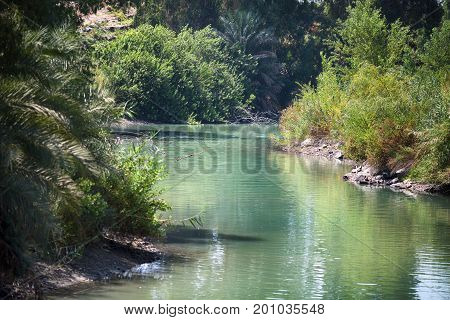 Jordan river. The place where Jesus was baptized