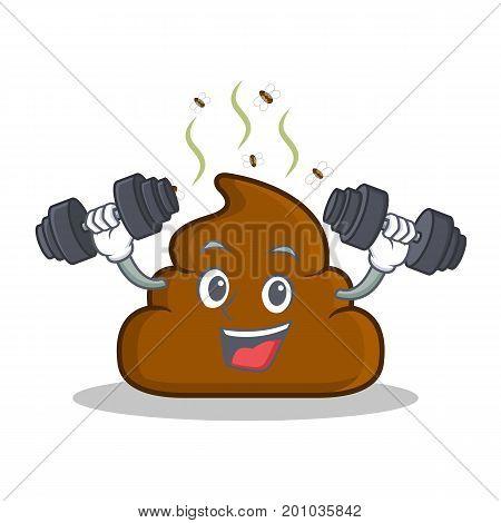 Fitnes Poop emoticon character cartoon vector illustration
