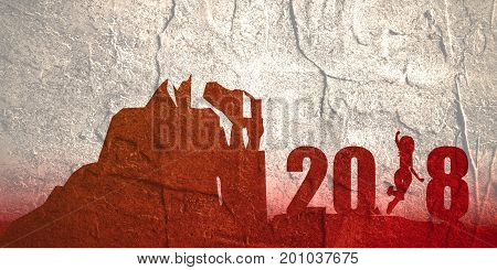 Silhouette young woman jumping over 2018 year number at the hill while celebrating new year. Grunge distress texture