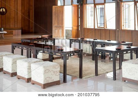 Set of decoration for drink sake ceremony in japanese buddhist nichiren or shinto wedding ceremony