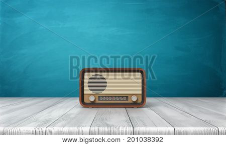 3d rendering of a brown vintage radio set standing on a white wood table in front of blue background. House appliances. Radio receiver. Vintage interior accessories.