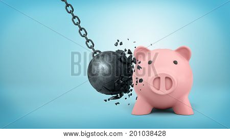3d rendering of a black swinging wrecking ball breaks itself when collides with a large piggy bank. Reliable company. Money saving measures. Investment under control.