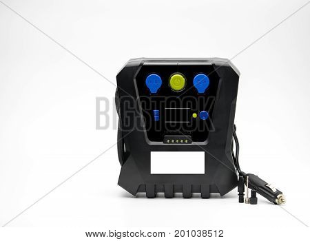 Emergency tire inflator isolated on white background with copy space