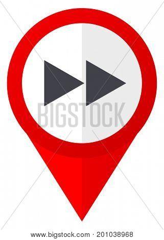 Rewind red web pointer icon. Webdesign button on white background.